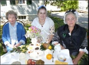"A 21st century Bigelow woman shares tea with her 18th century ""relatives."""